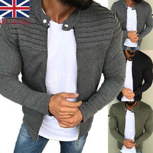Men Pleated Slim Fit Jacket Collared Zip Up Long Sleeve Casual Coat Overcoat UK