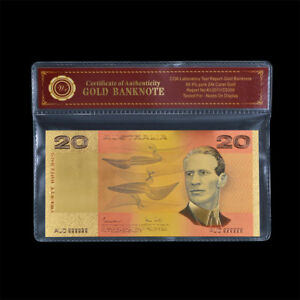 WR-Australian-20-Dollar-24K-Gold-Note-Old-Poly-Bank-Note-Christmas-Gift-For-Him