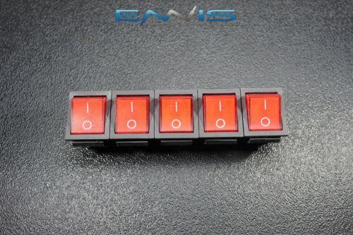 5 PCS ROCKER SWITCH RED LED DPST ON OFF 15 AMP 250 V 20 AMP 125 V 6 PIN EC-620