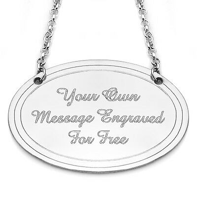 Engraved Oval Decanter Tag Pewter Personalised Bottle Tag Wedding Gift