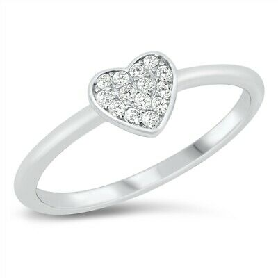 Heart Ring Sterling Silver 925 Tanzanite /& Clear CZ Face Height 6 mm Size 10