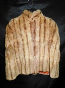 Vintage-Brown-Alaska-Fur-Cape-Coat-Soft-Sheared-Muskrat-Fur-Top-Hook-Satin-Lined