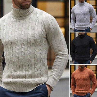 SELX Men Winter Warm Knit High Neck Pullover Jumper Turtleneck Slim Sweater