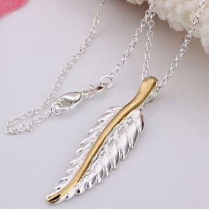 ASAMO-Damen-Halskette-mit-Blatt-Anhaenger-925-Sterling-Silber-plattiert-H1039
