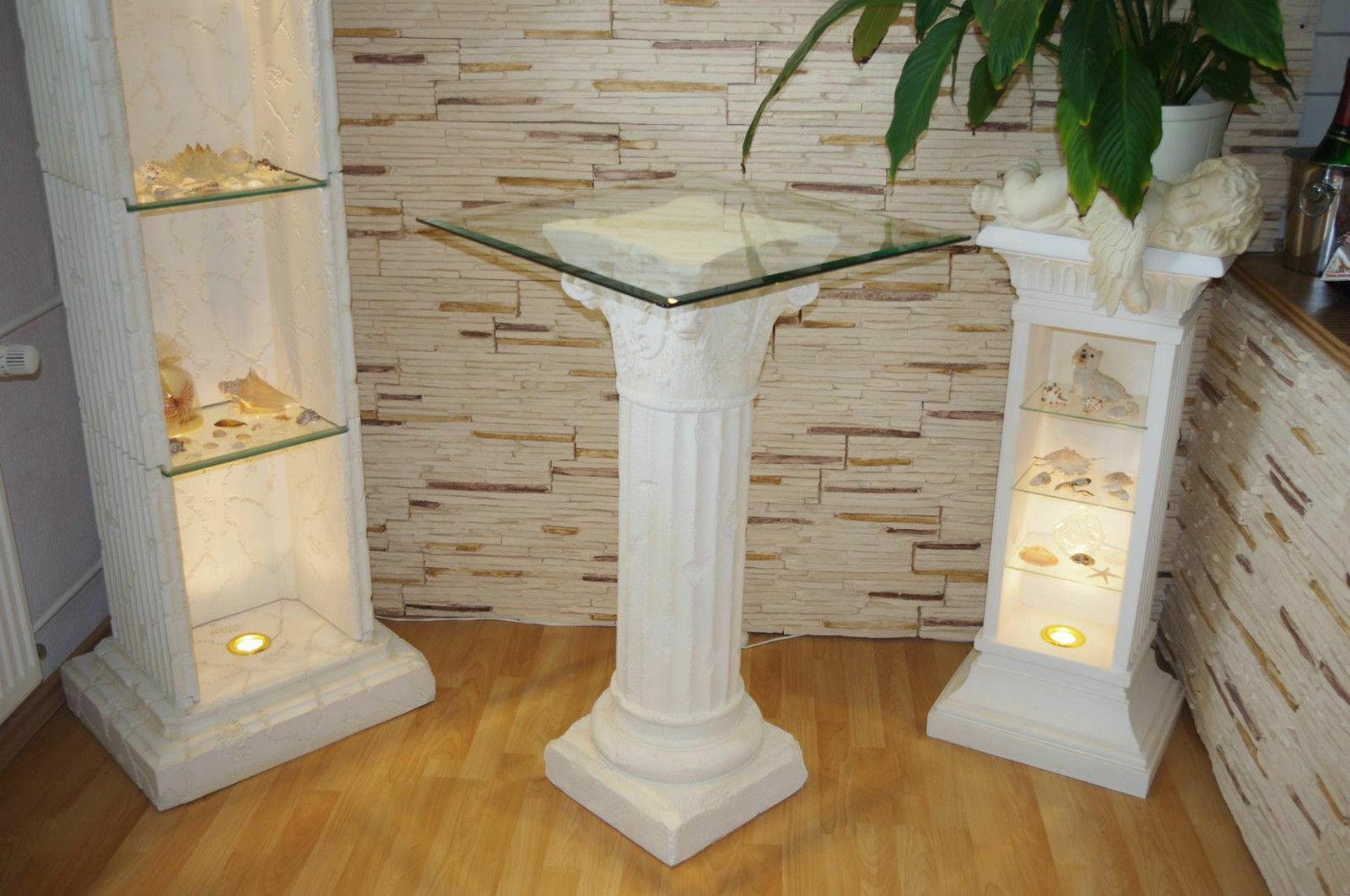 Beistelltisch Blaumensäule Blaumenständer Telefontisch Standsäule Säule Glastisch
