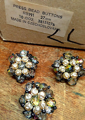 "VINTAGE Made in CZECHOSLOVAKIA  1 1/8"" PRESSED BEADS 27mm Pearls 3 Buttons"