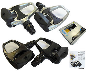 Shimano-PD-R540-Road-Bike-Racing-Bicycle-Pedals-Cleats-Black-Silver-SPD-SL