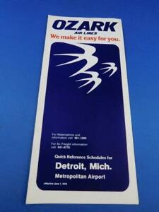 JUNE-1978-OZARK-AIRLINES-TIMETABLE-QUICK-REFERENCE-SCHEDULE-DETROIT-MICHIGAN