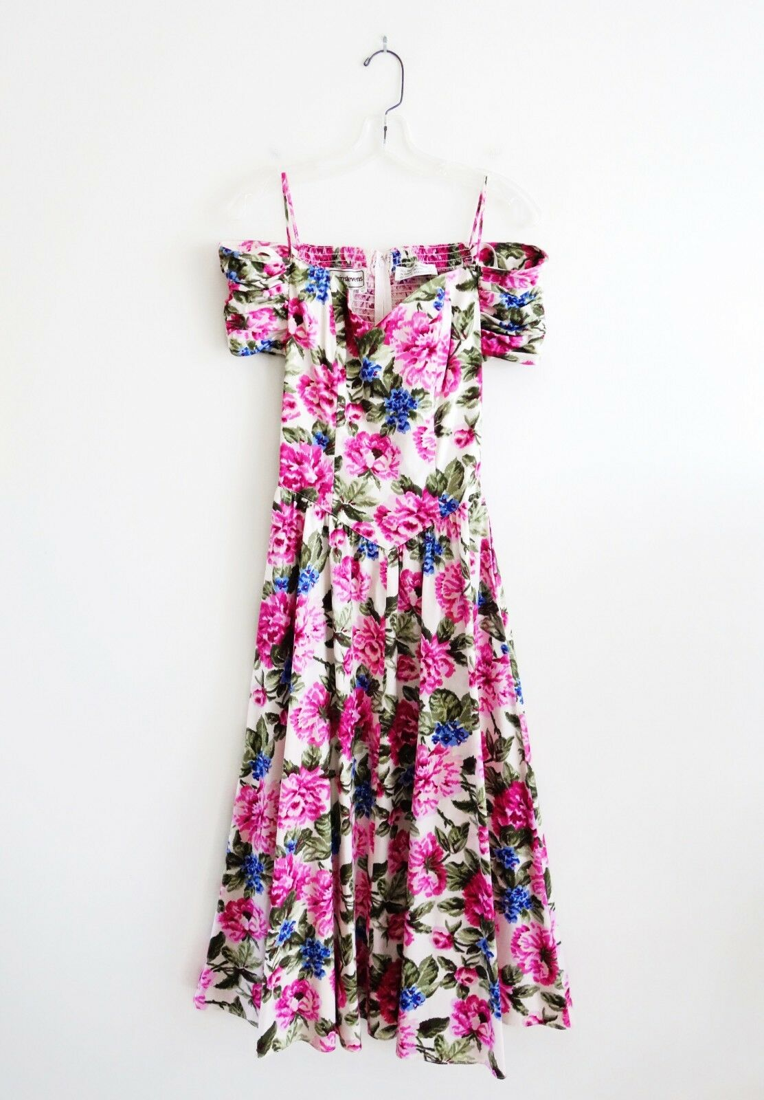 Vintage 80s Karin Stevens Pink Floral Off Shoulder Midi Dress size 6