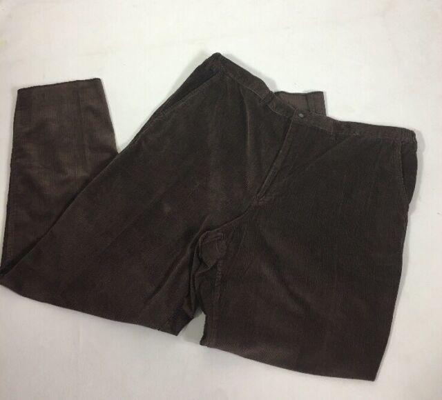town craft men's pants corduroy Size 48w Brown Back Elastc Waist Long Wearing