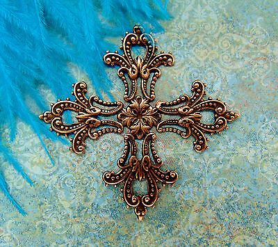 ANTIQUE COPPER Maltese Cross Filigree Stamping ~ Jewelry Finding (CB-3044)