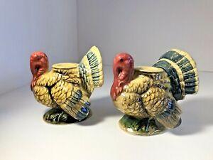 Vintage-Napcoware-pair-Turkey-Thanksgiving-Candle-Stick-Holders-Japan
