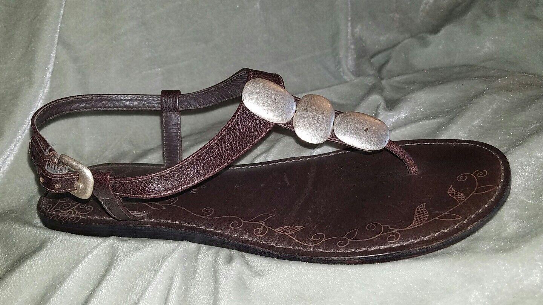 BRIGHTON Orlean Strap 9.5 M Brown Silver Pebble Leather Ankle Strap Orlean Flip Flops Sandals a39d9f