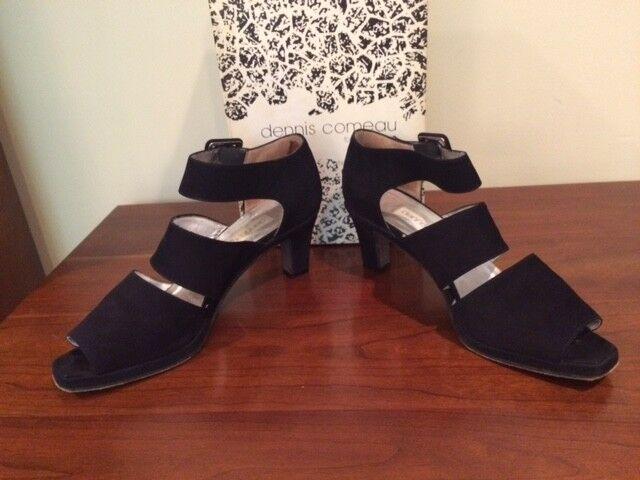 Dennis Comeau Navy Blue Suede 3 Strap 2.25' Heel Pump Size 8