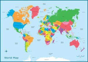 A3 Map Of The World Educational Wall Chart Poster Kids Classroom