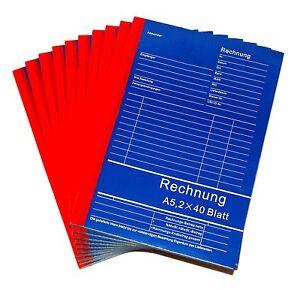 2 x Rechnungsblock Rechnung Rechnungs Block Quittungsblock A5 Büro Vordrucke