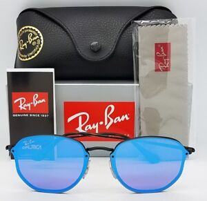 38e88b502fa NEW Rayban Sunglasses RB3579N 153 7V Blaze Hexagonal Blk Blue round ...