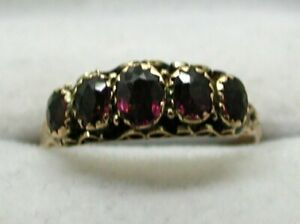 Edwardian-Lovely-9-Carat-Gold-Five-Stone-Amethyst-Ring-Size-Q-1-2