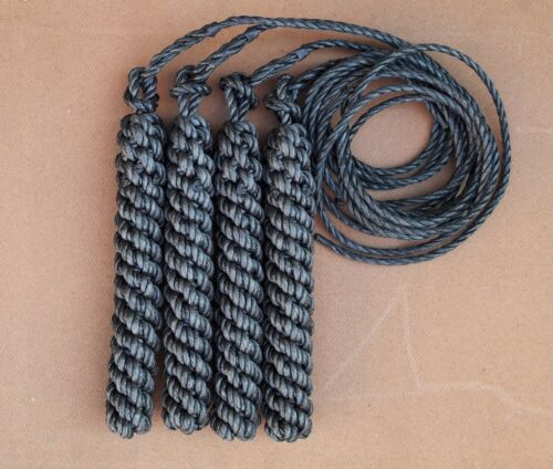 4 SLIM BLACK ROPE SIDE FENDERS WITH LONG LANYARDS FOR NARROWBOAT OR WIDEBEAM