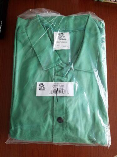"""XXL Steiner 40/"""" Welding Safety Jacket Green 9oz Fire Resistant Cotton 1039-2XL"""