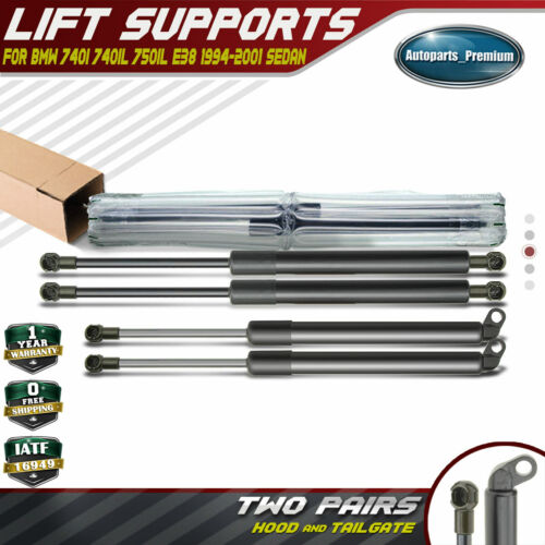 4x Hood/&Tailgate Lift Support Shock Strut for 1995-2001 BMW E38 740i 740iL 750iL