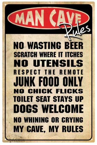 """MAN CAVE RULES 12/"""" x 18/"""""""