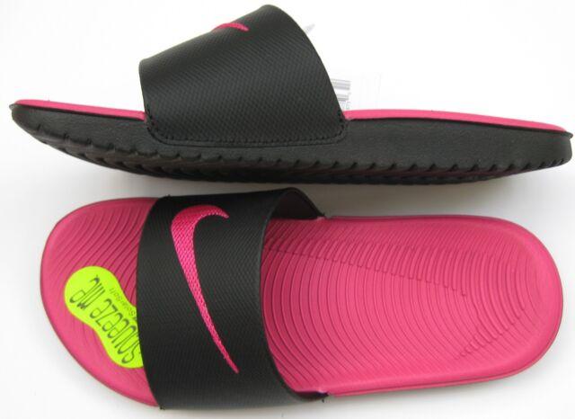 ef92db98c Nike Kawa Kid Girls Slide Sandals Black Pink Size 1y