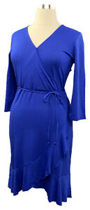 New-ISAAC-MIZRAHI-LIVE-Size-M-Ink-Blue-3-4-Sleeve-Knee-Length-Surplice-Dress