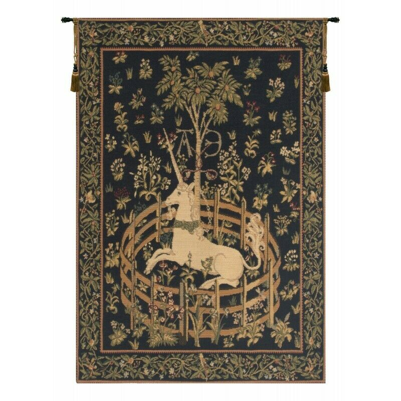 Unicorn in Captivity European Tapestry Wall Hanging H 37  x W 26