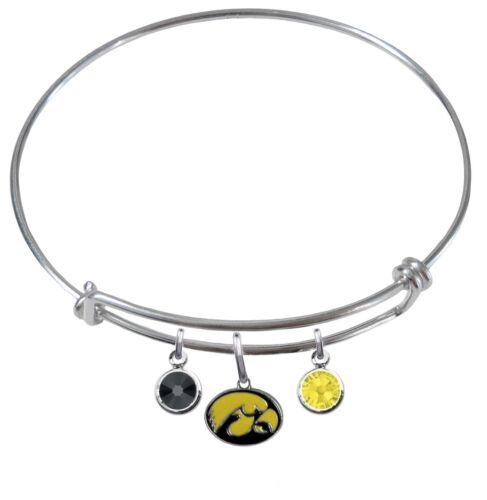 Iowa Hawkeyes Wire Bangle Charm Bracelet Crystal Gems PICK YOUR COLOR