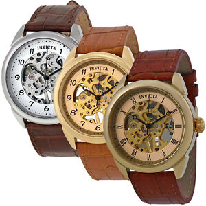 invicta specialty mechanical skeleton dial leather band mens watch image is loading invicta specialty mechanical skeleton dial leather band mens