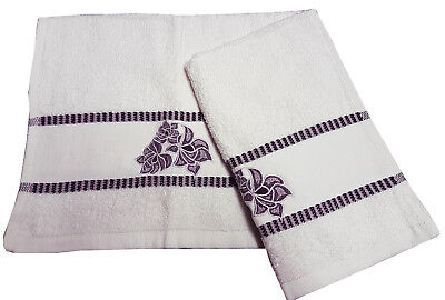 PACK OF 2 GUEST TOWELS FLOWER STRIPE BLUE NAVY WHITE EMBROIDERED 400GSM COTTON