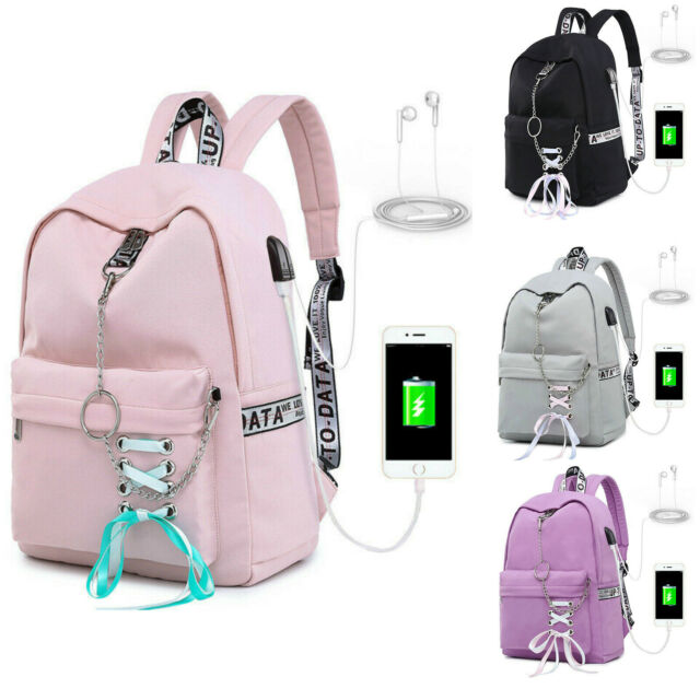 b6cd6864e295 Women School Bags Waterproof Backpack For Girl USB Charge Travel Laptop Bag