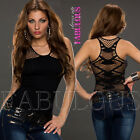 Sexy Womens Fishnet Mesh Top Sheer Back Casual Party Clubbing Size 6 8 10 XS S M