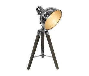 differently e4fba cb31d Details about VINTAGE STYLE TRIPOD SPOTLIGHT DESK TABLE LAMP LIGHT CHROME  BROWN