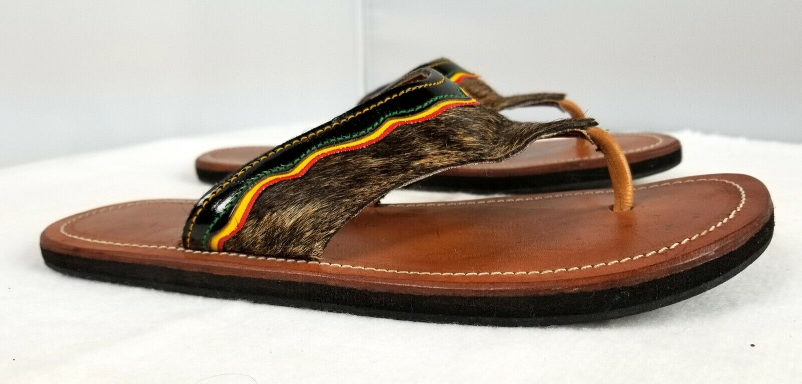Donna  Colombian Marronee Carriel Flats Sandal Handmade Cow Cow Cow Hide Hair Leather Sz 7 59b89f