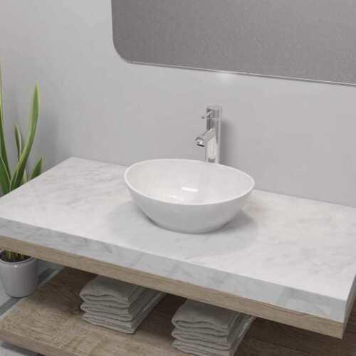 vidaXL Waschbecken Mischbatterie Keramik Waschtisch Waschplatz mehrere Auswahl