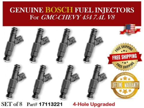 8x Fuel Injectors BOSCH OEM 4 Hole UPGRADE for GMC-CHEVY 454 7.4L V8