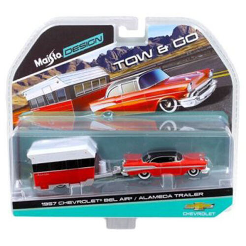 Maisto 1:64 TOW /& GO 1957 Chevrolet Bel Air with Alameda Trailer Model 15368B