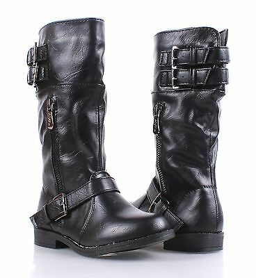 Faux Leather Fashion Girls Military Mid Calf Combat Boots Kids Youth Size 9 - 4