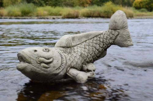 KOI CARP Hand Cast Stone Animal Garden Ornament Pond Decor Feng Shui ⧫onefold-uk