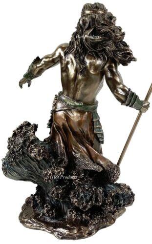 """LARGE 20/"""" Poseidon W Trident GREEK MYTHOLOGY God of Sea Statue Bronze Finish"""