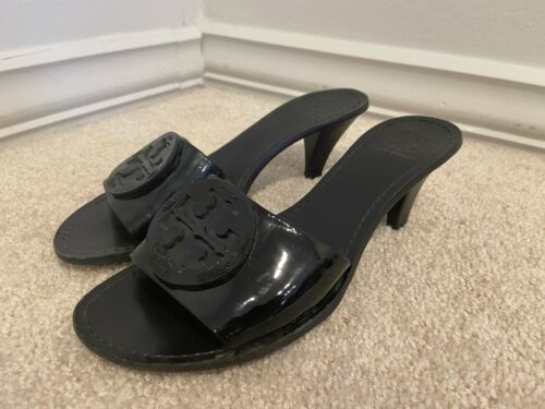 Tory Burch Logo Black Patent Leather Mules Slides