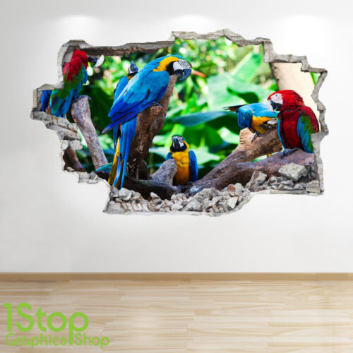 PARROT WALL STICKER 3D LOOK BEDROOM LOUNGE NATURE WALL DECAL Z558