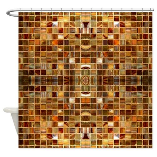 CafePress Gold Mosaic Tiles Shower Curtain 847018418