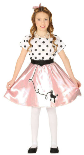 50s Poodle Girls Costume Rock n Roll Childrens Kids 1950s Fancy Dress Outfit NEW