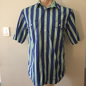 RB-Sellars-Mens-Blue-Green-Short-Sleeved-Striped-Shirt-Size-XL-Button-Up-Pockets