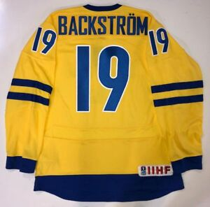 new styles 75b97 84ae2 Details about NICKLAS BACKSTROM WASHINGTON CAPITALS NIKE TEAM SWEDEN  OLYMPIC JERSEY