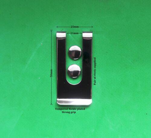 6 x PIASTRA IN ACCIAIO Nickle fondina cintura clip metallo forte Utility a molla clip dei soldi