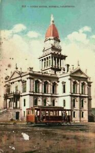 Street View Court House Trolley Eureka California CA Vintage 1900's Postcard